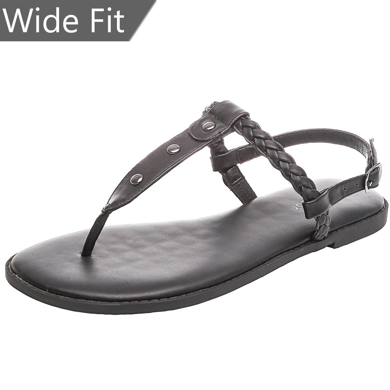 Women's Wide Summer Flat Sandals - Open Toe One Band Ankle Strap Flexible Shoes(180312 Black,9WW)