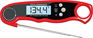 Digital Kitchen Thermometer - Waterproof, Calibration function, Fast Response Time, Large LCD, Magnet, Stainless Steel probe. Instant Read Thermometer for Food, Meat, BBQ Grill, Cooking & Liquid
