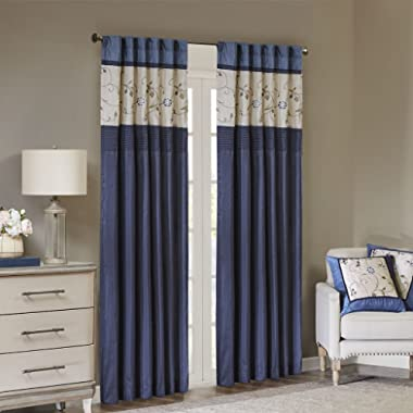 Madison Park Serene Blackout Embroidered Room-Darkening Window Treatment Curtains 1 Panel with Rod Pocket/Back Tab Drapes for Bedroom and Dorm, 50x84, Navy