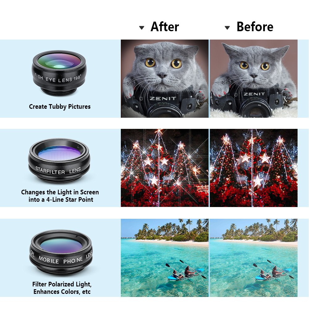 Yimaler Cell Phone Camera Lens Kit, 10 in 1 Micro Camera Lens for iPhone/Android Phone/Tablet/Laptop Included 0.63X Wide Angle Lens+15X Marco Lens+198° Fisheye Lens+2X Telephoto Lens+CPL/Flow/Radial/S by Yimaler (Image #1)