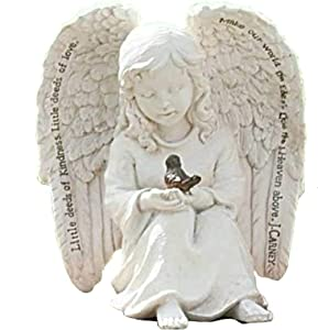 Little Cherub Angel and Robin 6 x 6 inch Resin Stone Garden Statue Figurine
