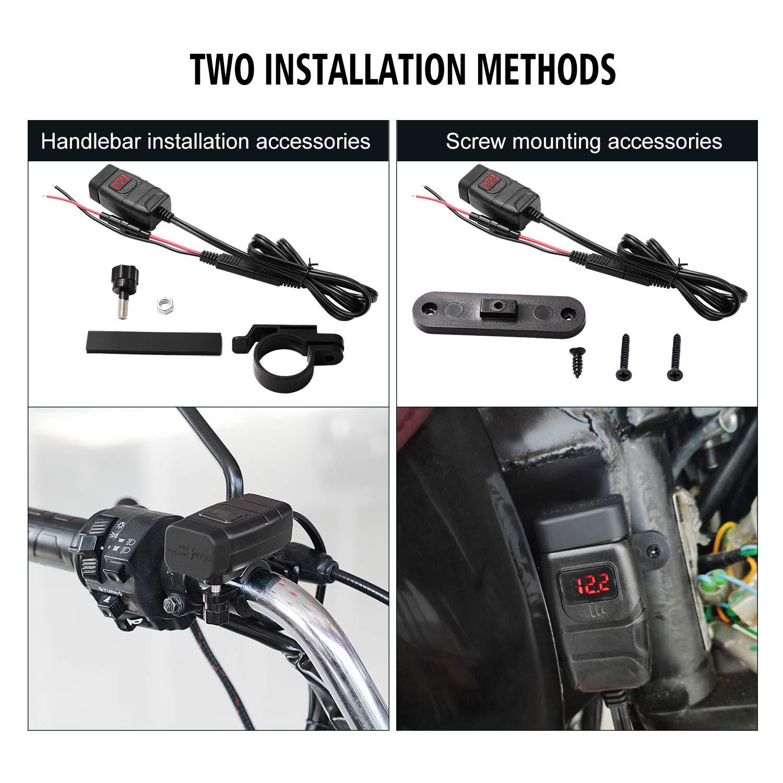 Kriogor Motocicleta Cargador USB QC 3.0 DC 12V Puertos 2 con Interruptor y Led Voltimetro Toma Corriente Moto Dos M/étodos de Instalaci/ón(Rojo)