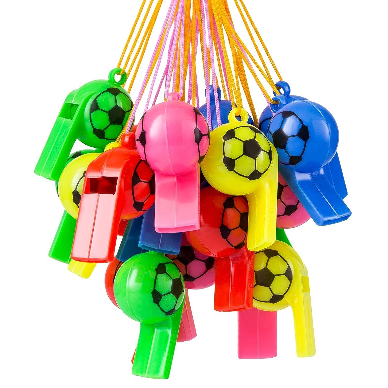 Kesote 25 Silbatos de Pl/ástico de F/útbol con Cord/ón para Deporte Escolar para Ni/ños 5 Colores