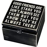 Primitives by Kathy 18192 Classic Hinged Wood Box, 4 x 4 x 2.75-Inches, Good Friends Are Like Stars