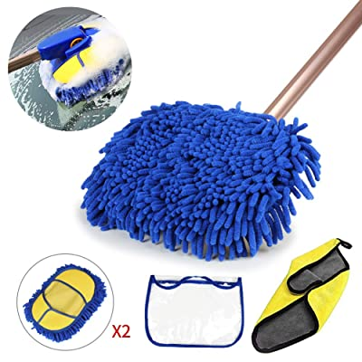 GES 2 in 1 Car Wash Mop Mitt with Long Handle, Chenille Microfiber Car Wash Brush Extension Pole 24-38In, Scratch Cleaning Tool for Car, Truck, RV, Total 2Pcs Mop Head and 1Pcs Car Cleaning Towels: Automotive