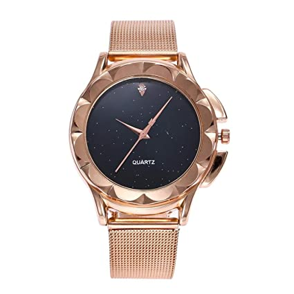 Watch Women Luxury Rose Gold Bracelet Crystal Stainless Steel Mesh Analog Quartz Red Ladies Gift Watch