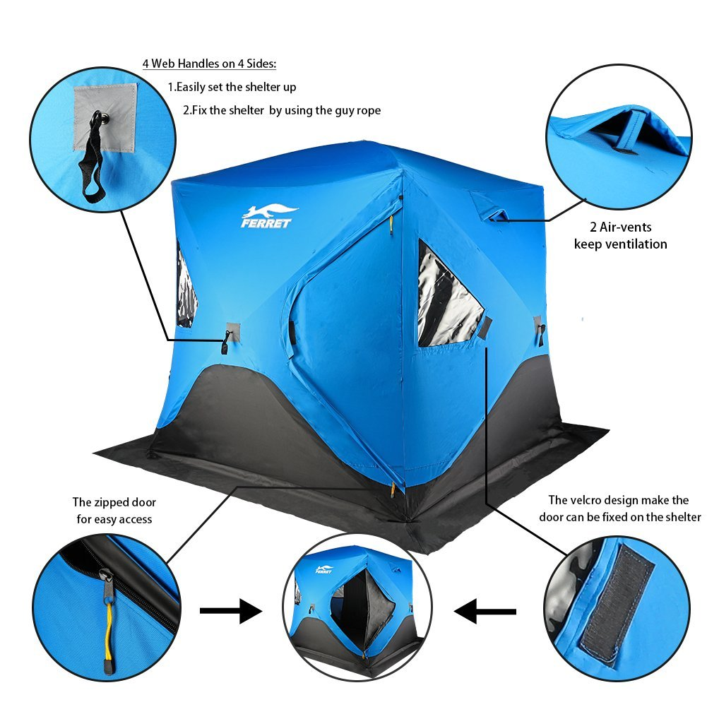 Amazon.com  FERRET 4-Person 80 X80 X77  Waterproof Pop-up Portable Ice Shelter Tent Insulated Ice Shelter Fishing Tent with Carrier Bag Blue  Sports u0026 ...  sc 1 st  Amazon.com & Amazon.com : FERRET 4-Person 80