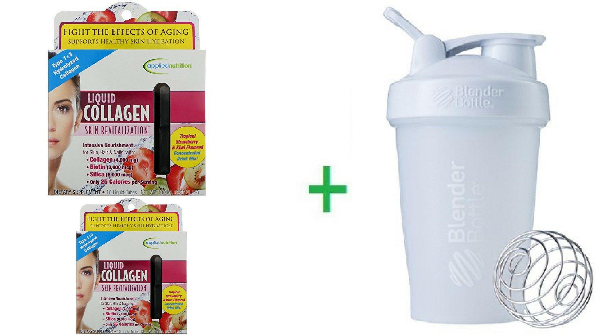 Irwin Naturals, Liquid Collagen, Skin Revitalization, Tropical Strawberry & Kiwi Flavored, 10 Liquid-Tubes, 10 ml Each (2 Packs) + Sundesa, BlenderBottle, Classic With Loop, White, 20 oz