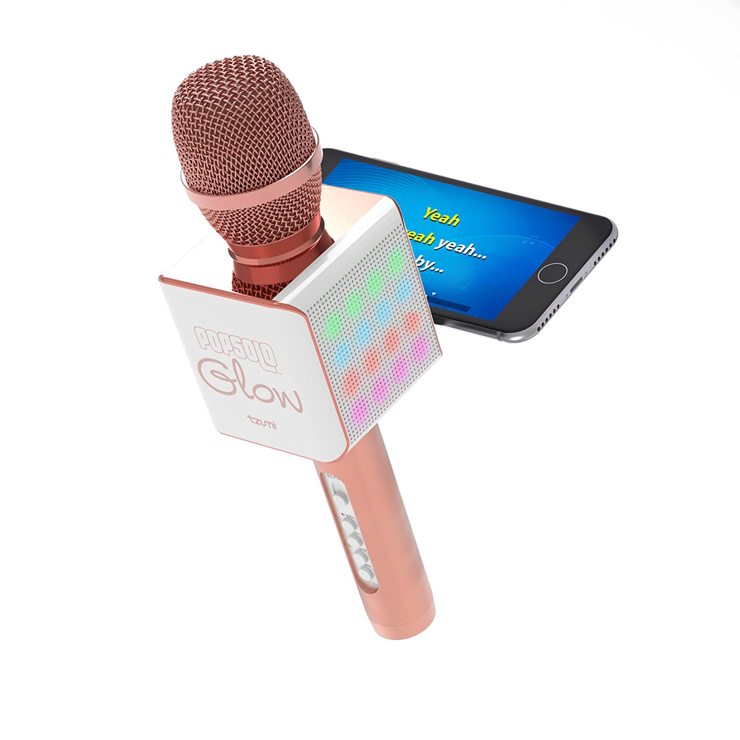 Tzumi PopSolo Glow– Rechargeable Bluetooth Karaoke Microphone and Voice Mixer with Smartphone Holder and Dancing LED Effects – Great for All Ages (Rose gold Glow) 5043AMZ