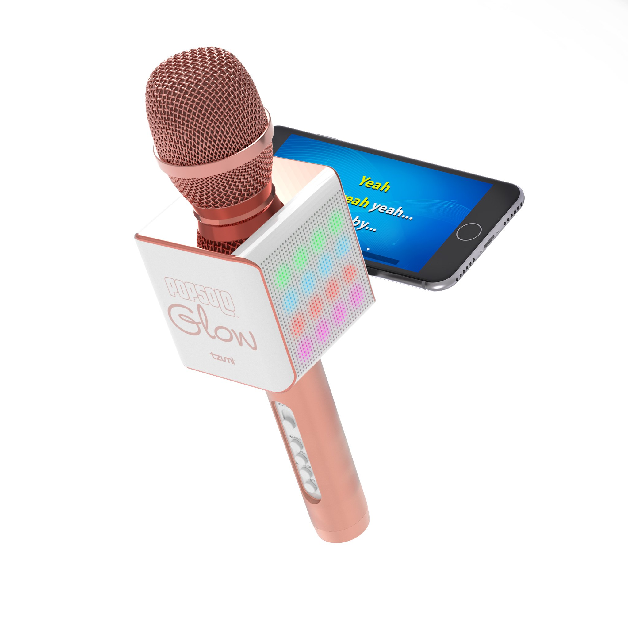Tzumi PopSolo - Rechargeable Bluetooth Karaoke Microphone and Voice Mixer with Smartphone Holder - Great for All Ages (Rose Gold Glow)