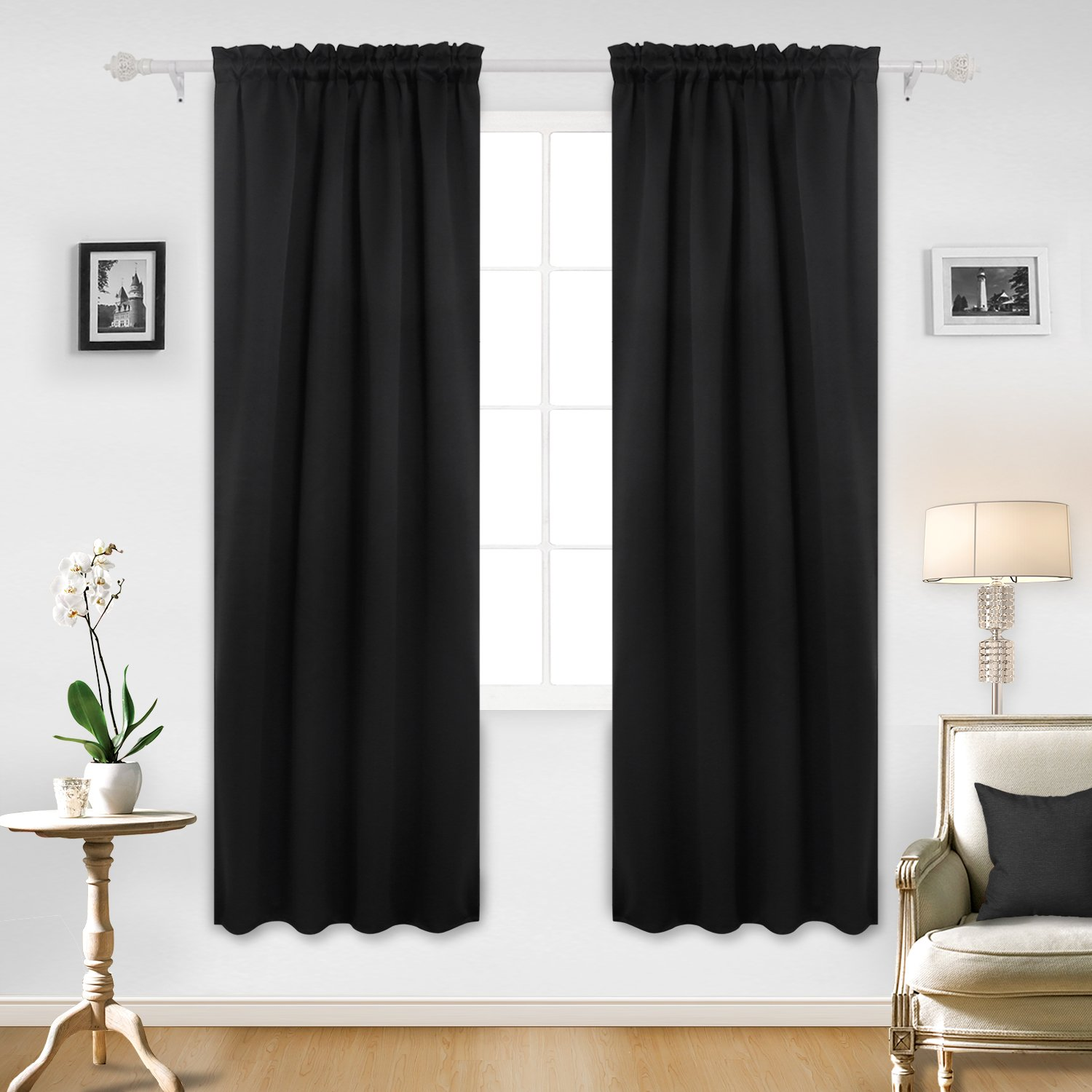 Deconovo Rod Pocket Curtains Blackout Room Darkening Curtains for Bedroom