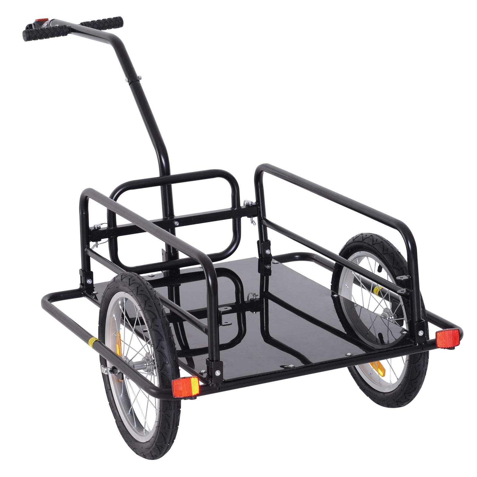 Bike Cargo Storage Cart and Luggage Trailer with Hitch Folding Bicycle Black