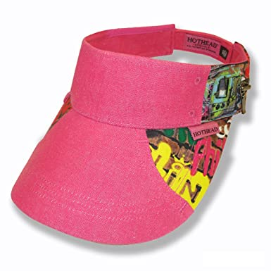 Image Unavailable. Image not available for. Color  Hothead Wide Brim Sun  Visor Hat in Graffiti with Pink Denim 54ead9ef36ee