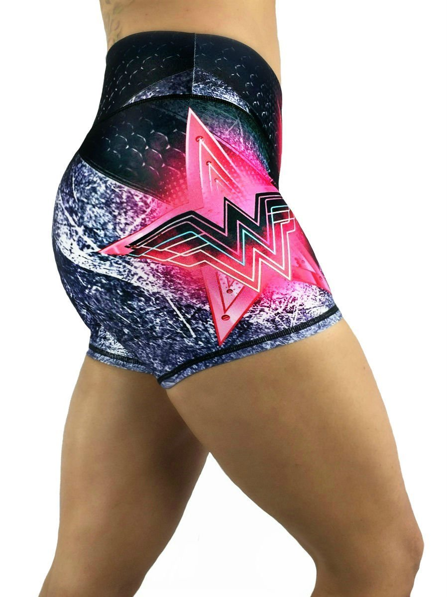 Activewear Crossfit Superhero Yoga Women's Booty Boy Gym Shorts (Several Styles) (Wonder Woman Pink)