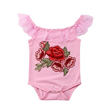 658570b69 Amazon.com  Newborn Infant Baby Girl Clothes Lace Embroider Flowers ...