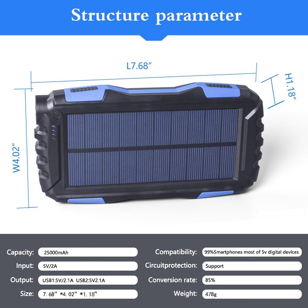 Azul Impermeable Solar Bater/ía Externa Pack con Dual USB Puertos y Linterna para iPhone iPad Port/átil 25000mAh Solar Power Bank Samsung Android y m/ás Friengood Cargador Solar