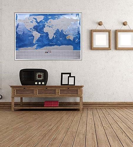 h x 57,5 cm 81,5 cm l Scratch le monde Apark Carte du monde /à gratter avec drapeaux /à gratter Grattez les endroits que vous avez visit/é d/étails cartographiques