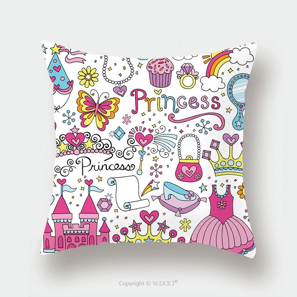 Custom Satin Pillowcase Protector Princess Ballerina Tiara Groovy Fairy Tale Notebook Doodles Set With Tutu Dress Crown Magic Wand 126933701 Pillow Case Covers Decorative by chaoran