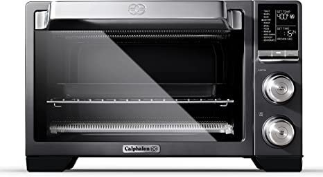 Amazon Com Calphalon Quartz Heat Countertop Toaster Oven Stainless Steel Extra Large Capacity Black Dark Gray Kitchen Dining
