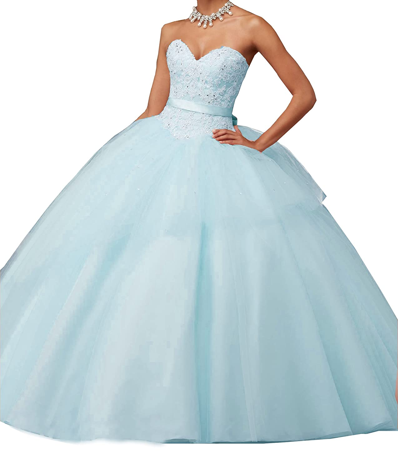 Eldecey Women\'s Ball Gown Tulle Sweet 16 Strapless Prom Quinceanera ...