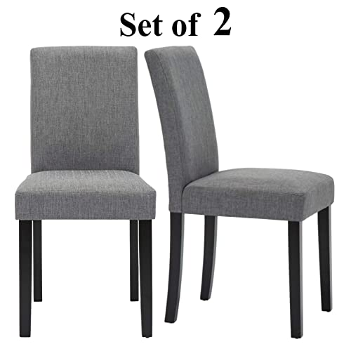 Upholstered Dining Chairs with Solid Wooden Legs, Modern Stylish Fabric Padded Parsons Chairs Set of 2 Gray