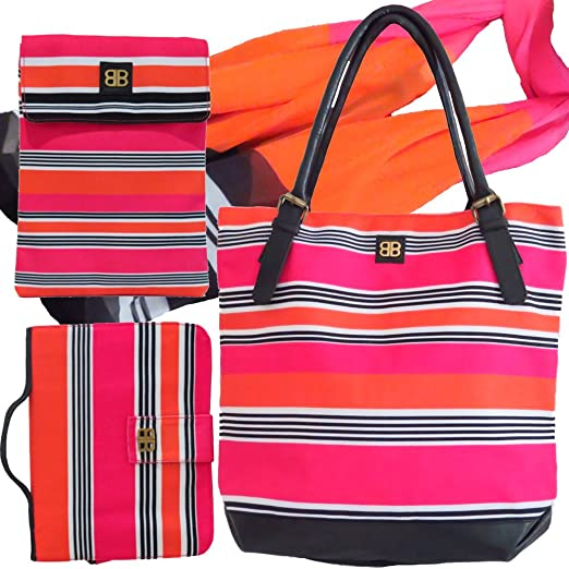 0ebc3e6e16 Image Unavailable. Image not available for. Color  Bagabook Candy Stripe Set  Tote Bag Scarf ...
