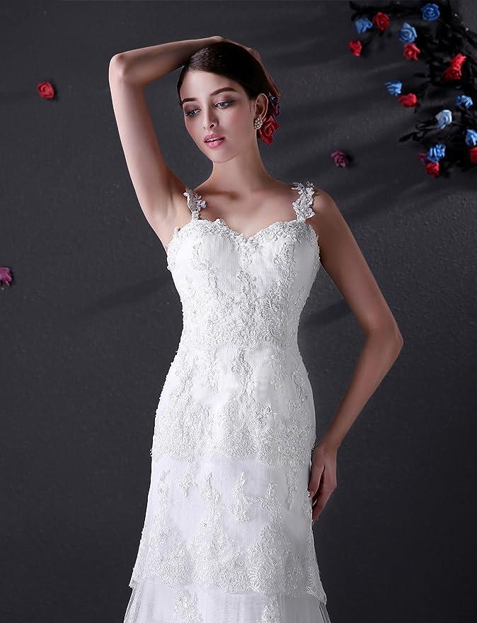 Adasbridal-Vestido elegante de novia de tul con cuello en V con abalorios apliques de encaje: Amazon.es: Ropa y accesorios