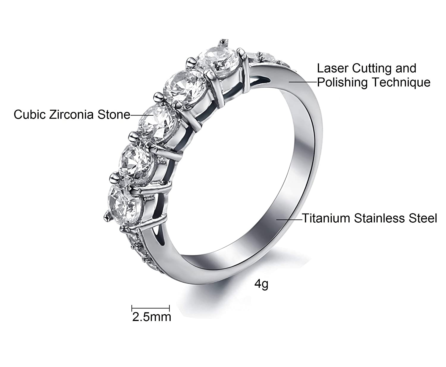 SunnyHouse Jewelry Womens Gorgeous Simple Korean Stylish Titanium Wedding Band Ring with Cubic Zirconia Stone