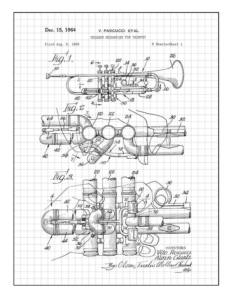 Amazon Com Trumpet Patent Print Art Poster Black Grid 8 5 X 11