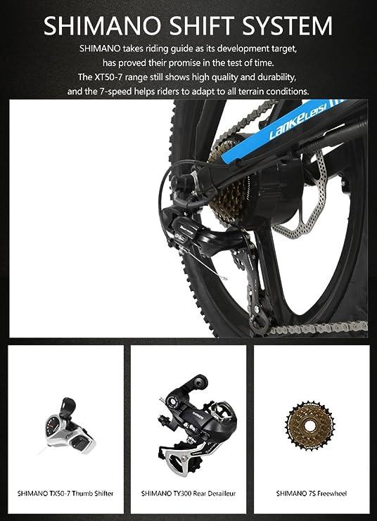 LANKELEISI G550 20 Pulgadas Bicicleta Eléctrica Plegable 48V / 240W 10AH Batería de Litio Oculta Sistema de transmisión Shimano 7 Velocidades Pequeña Assist ...