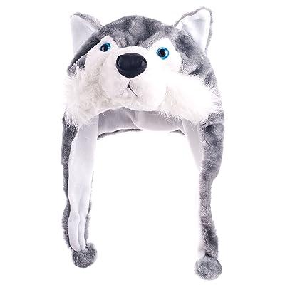 Gorro de piel sintética de foopp Animal Cartoon Cute siberiano Husky Cap peluche fluffy regalo de los niños (1pc): Hogar