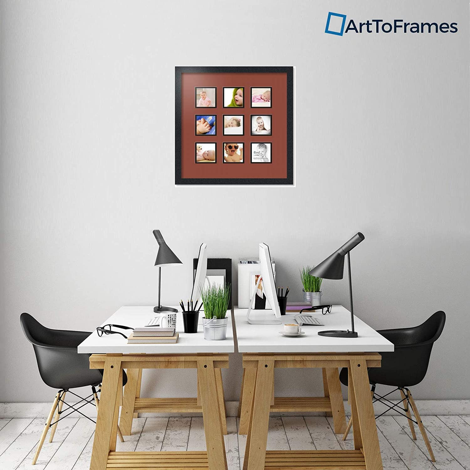 Art to Frames Double-Multimat-73-766//89-FRBW26079 Collage Photo Frame Double Mat with 9-4x4 Openings and Satin Black Frame