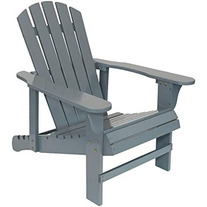 Miraculous Sunnydaze Wooden Outdoor Adirondack Chair With Adjustable Backrest 250 Pound Capacity Gray Gamerscity Chair Design For Home Gamerscityorg