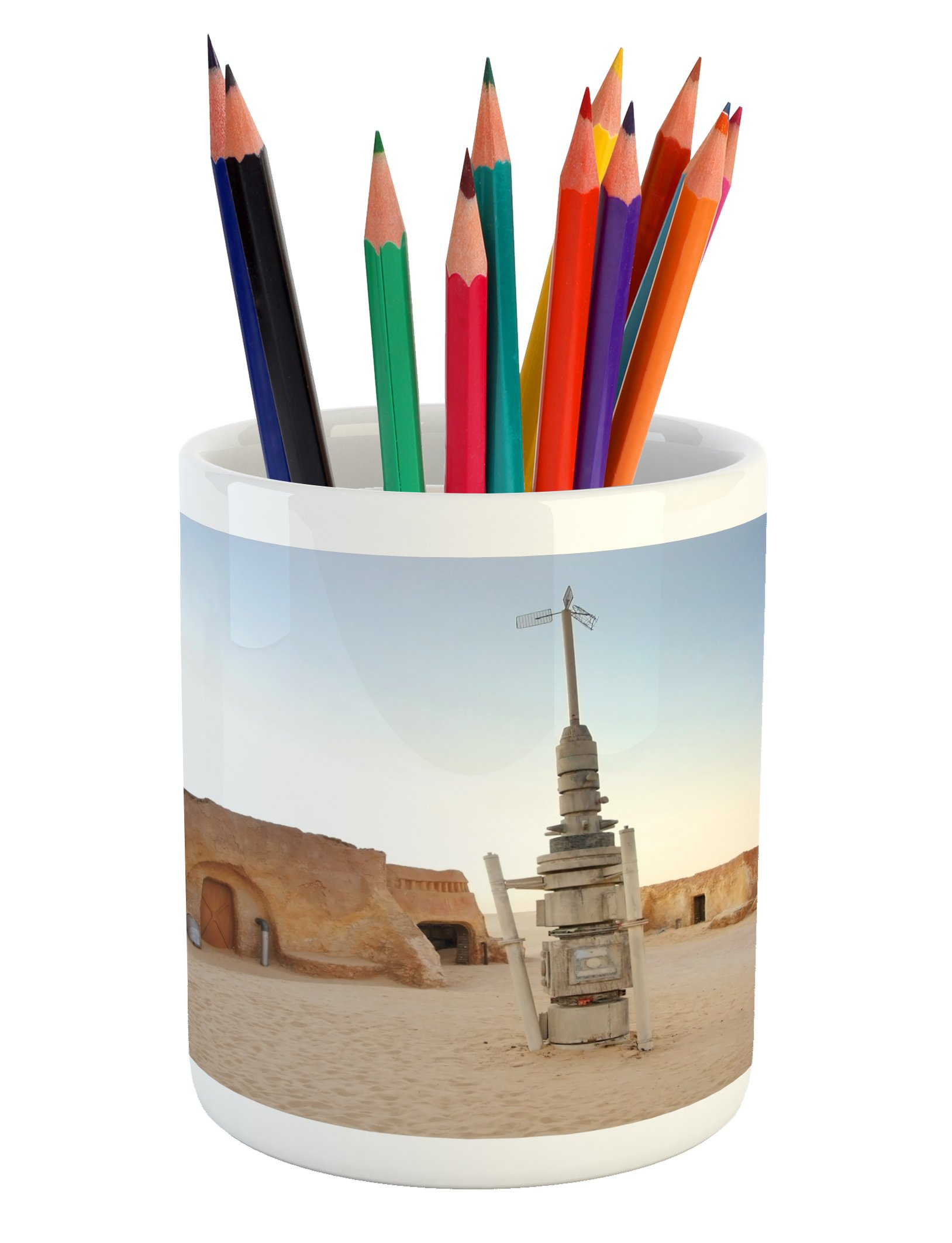Ambesonne Galaxy Pencil Pen Holder, Image of Fantasy Movie Town of Fantasy Planet Out of Space Setting Theme Landscape, Printed Ceramic Pencil Pen Holder for Desk Office Accessory, Brown Blue