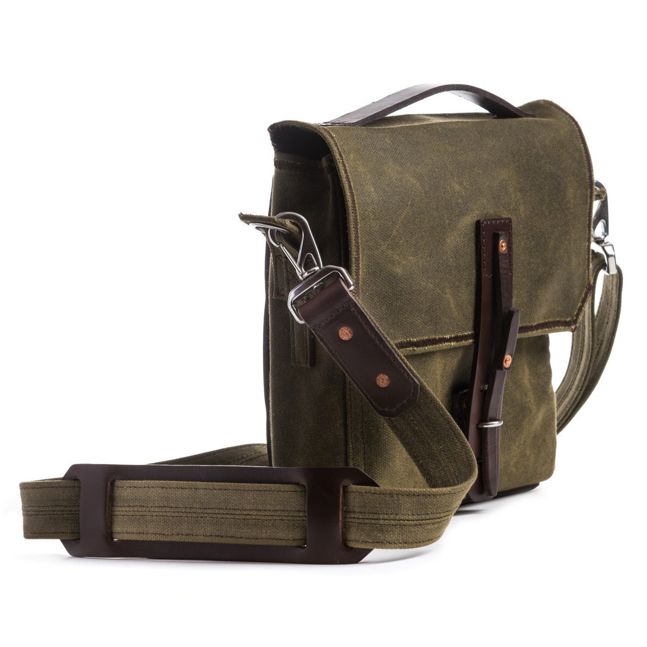 Saddleback Leather Canvas Indiana Gear Bag - Scottish Waxed Canvas Satchel Bag with 100 Year Warranty