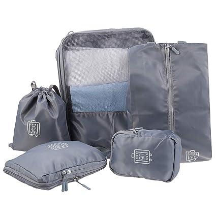Vosarea Organizer per valigie Sacchetti da Viaggio Porta Biancheria da  Viaggio 5 Pezzi (Grigio) 83c10492416