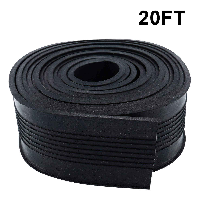 Homend Garage Door Bottom Weather Stripping Rubber Seal Strip Replacement, 5/16'' T Ends, 3 3/4'' Width X 20 Feet Lenth (Black)