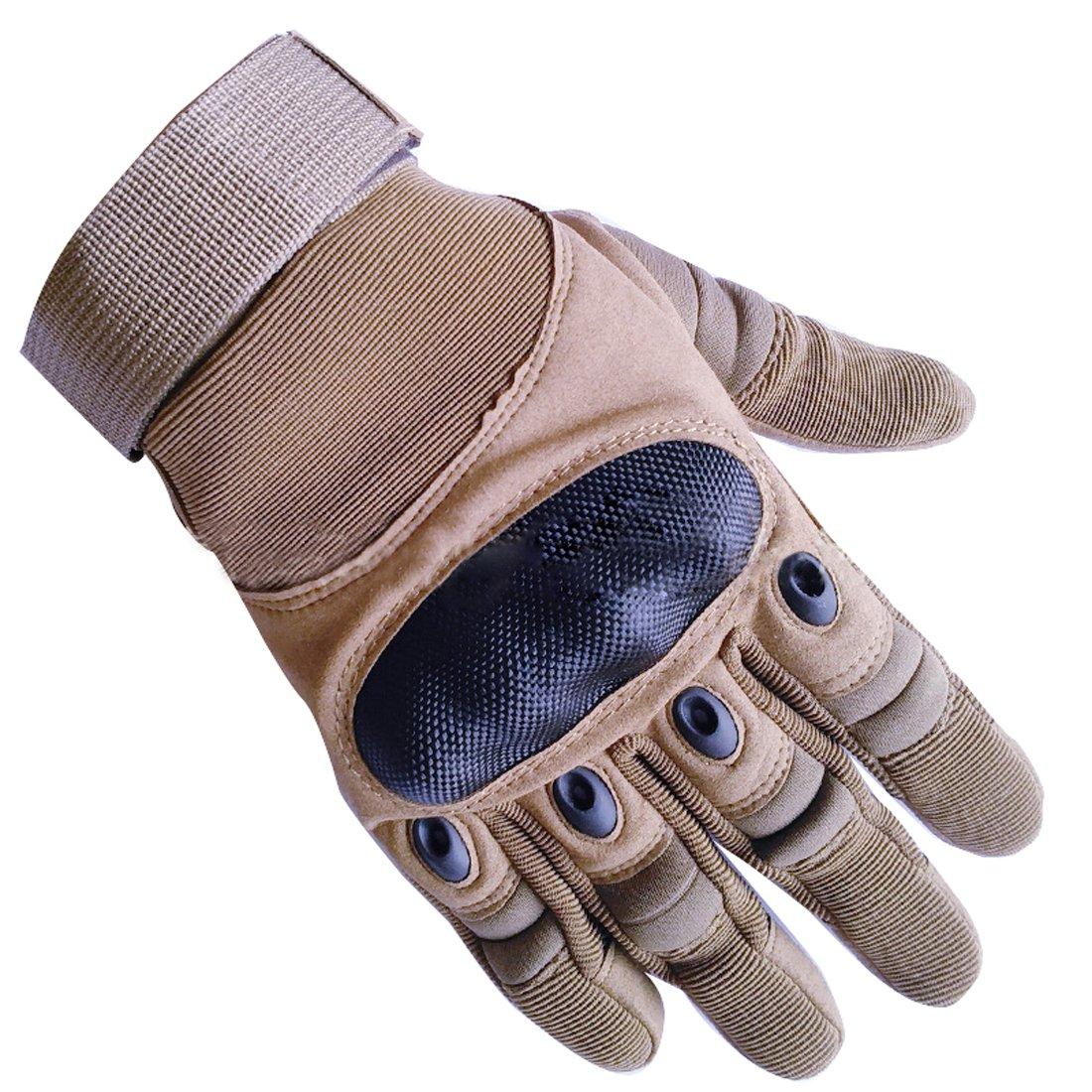 アップグレードメンズフルフィンガータクティカルミリタリーオートバイサイクリンググローブ登山ハイキングハンティングアウトドアスポーツスマート手袋をHi Suyi B075H6TTND Medium|カーキ カーキ Medium