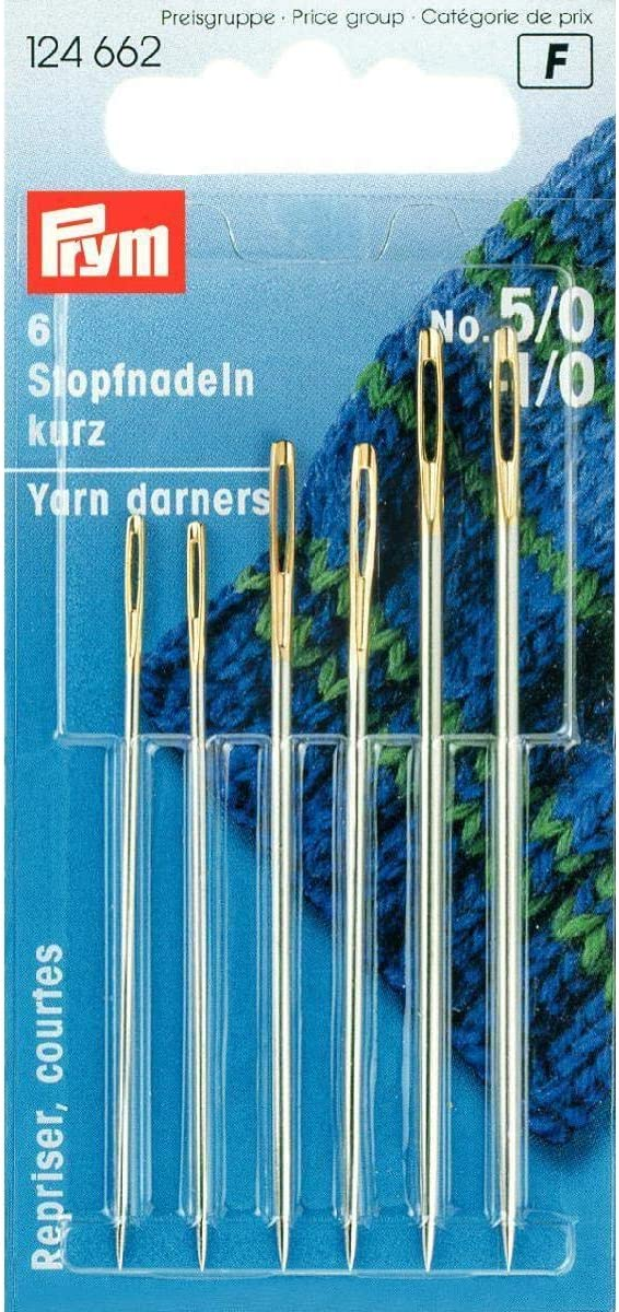 Prym Darning Needles Short HT 1-9 Silver col with Gold Eye Assorted