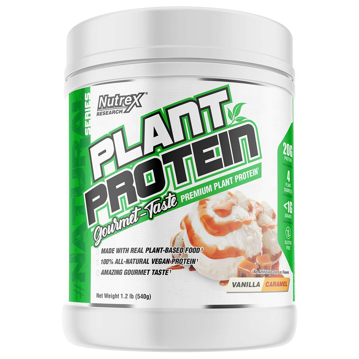 Nutrex Research Plant Protein | Great Tasting Vegan Plant Based Protein | No Artificial Flavors, Colors, or Sweeteners, Gluten Free, Lactose Free | 18 Servings (Vanilla Caramel)