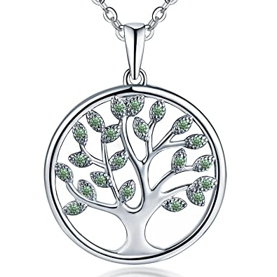 [Sponsored]JO WISDOM Tree of Life Necklace,925 Sterling Silver Family Tree Coin Pendant Necklace