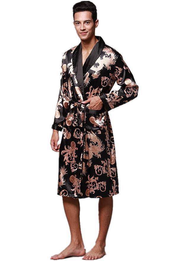 c2c54fb767 VERNASSA Mens Satin Robe Silk Long Sleeve Kimono Bathrobe Sleepwear  Loungewear at Amazon Men s Clothing store