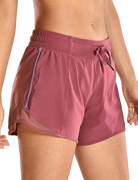 CRZ YOGA Femme Shorts de Sport Running avec Pochette Slip Intégré 10cm