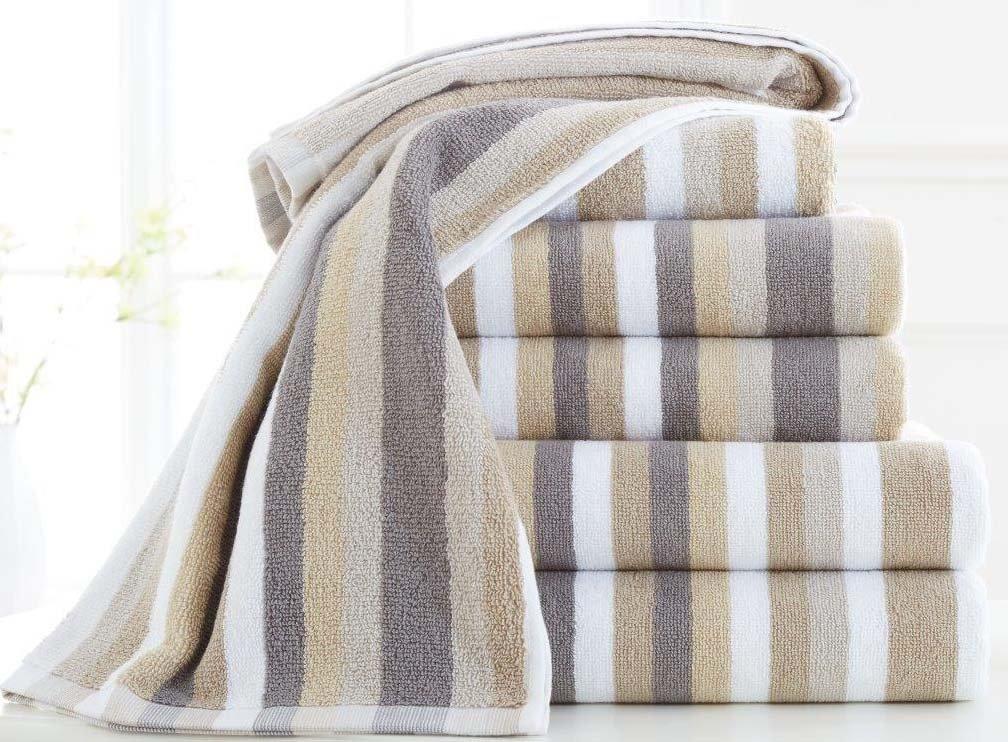 100% Cotton Bath Sheets 600gsm Large Luxury Multi Stripe Super Soft Combed High Quality Bathroom Towels, Natural De Lavish