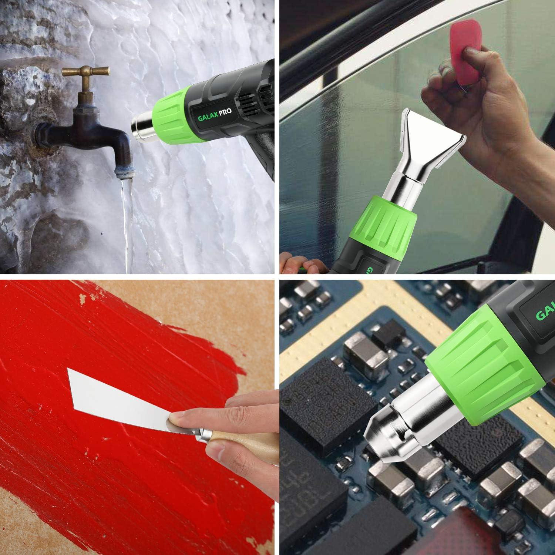 ,Doble Protecci/ón Ⅰ: 350 ℃, Ⅱ: 550 ℃ GALAX PRO Pistola de Aire Caliente,2000W Dos Rangos de Temperatura Ajustables con 6 Accesorios,Para Eliminar Pintura,Doblar Tubos