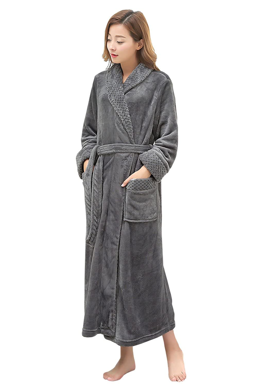 05daa56969 Long Bath Robe for Womens Plush Soft Fleece Bathrobes Nightgown Ladies Pajamas  Sleepwear Housecoat at Amazon Women s Clothing store
