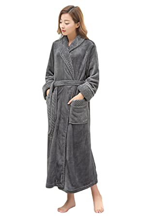 d02672afbd Long Bath Robe for Womens Plush Soft Fleece Bathrobes Nightgown Ladies  Pajamas Sleepwear Housecoat Grey