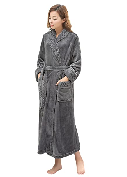 2d3f94efd6 Long Bath Robe for Womens Plush Soft Fleece Bathrobes Nightgown Ladies  Pajamas Sleepwear Housecoat at Amazon Women s Clothing store
