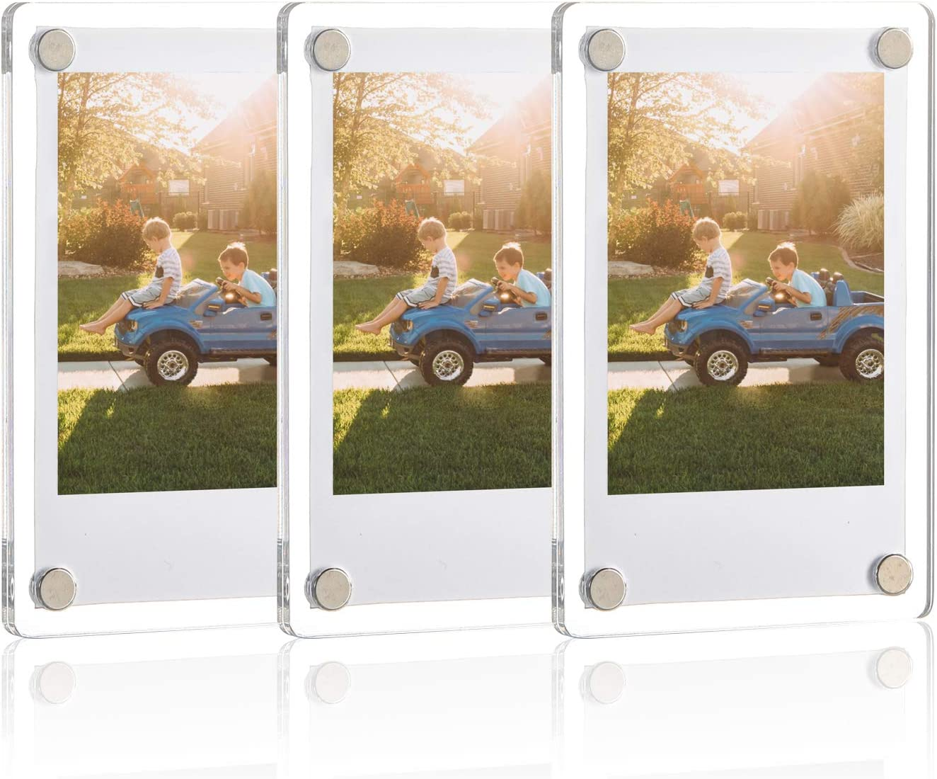 ONE WALL Acrylic Fridge Magnetic Frame, Double Sided Photo Refrigerator Magnet Picture Frame for Fujifilm Instax Mini, 2.36 x 3.54 Inch, Pack of 3