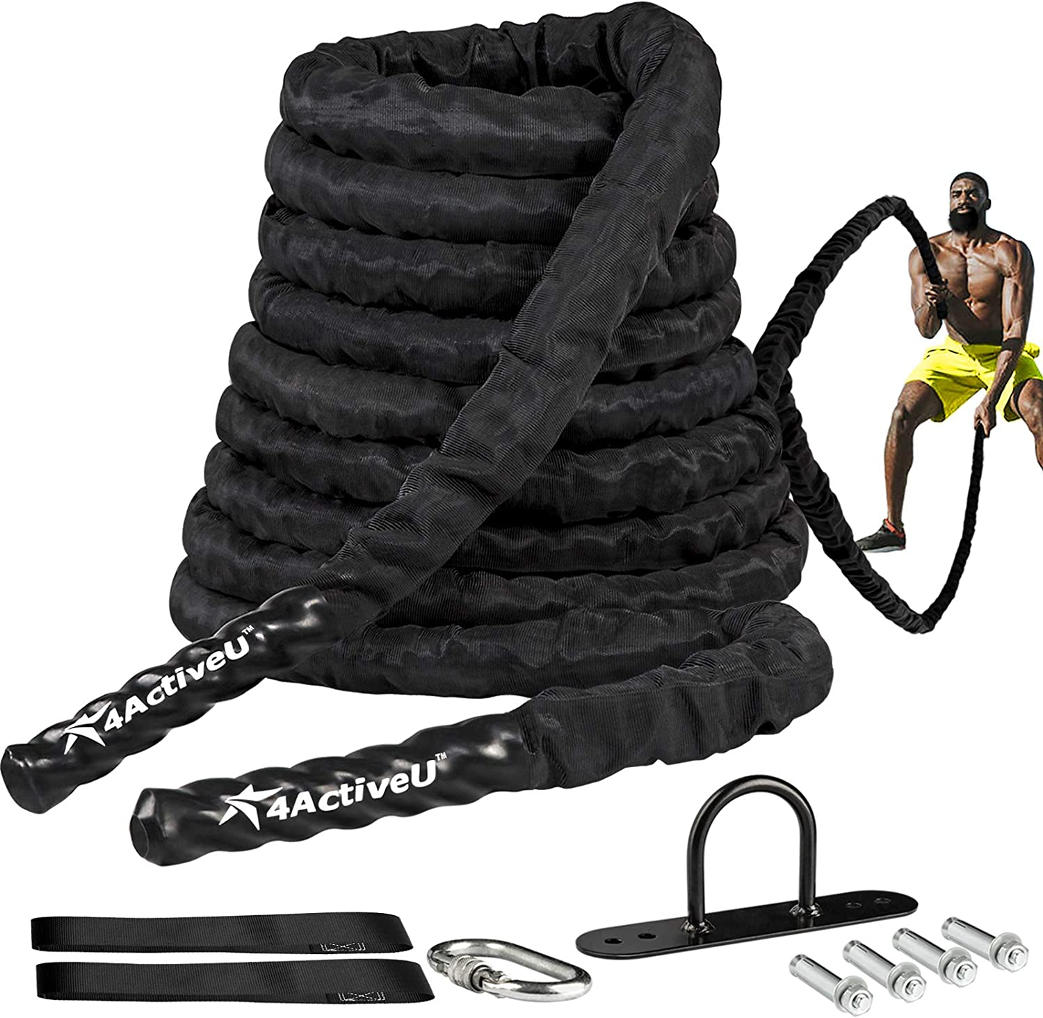 4ActiveU Battle Rope 30ft Length Heavy Battle Exercise Training Rope Workout Rope